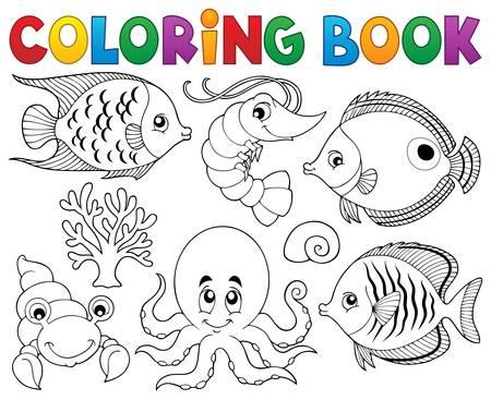 Libro Para Colorear Tema De La Vida Marina 1 - Ilustración Vectorial ...