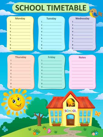 weekly: Weekly school timetable theme 2 - vector illustration.