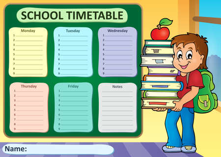 time table: Weekly school timetable theme 3 - vector illustration.