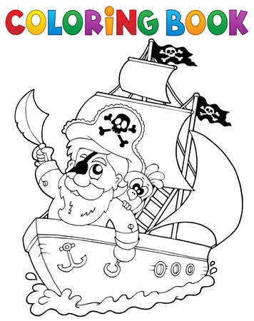 vessel: Coloring book ship with pirate 2 - vector illustration. Illustration