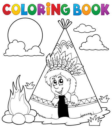 tepee: Coloring book Indian theme image 3 - vector illustration.