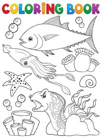 lurk: Coloring book marine life theme 1 - vector illustration.