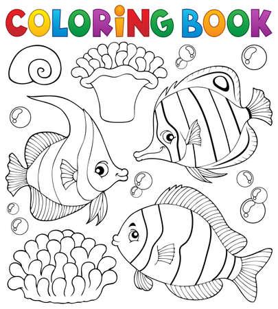 bubble sea anemone: Coloring book coral fish theme 1 - vector illustration.