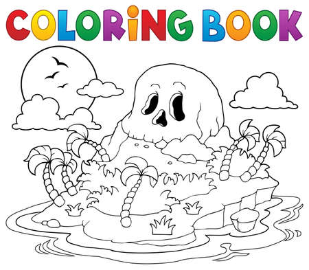 hideout: Coloring book pirate skull island - vector illustration.