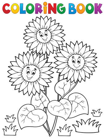 sunflowers: Coloring book with happy sunflowers - vector illustration.