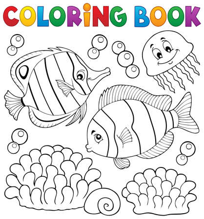 coral fish: Coloring book coral fish theme 2 - vector illustration. Illustration