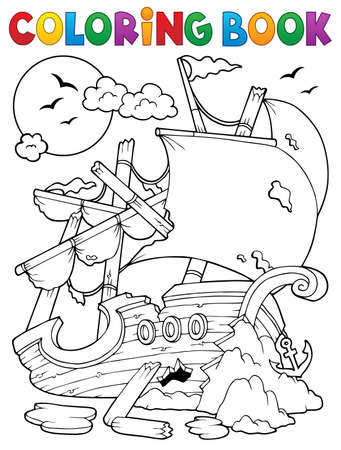 keel: Coloring book shipwreck with rocks - vector illustration.