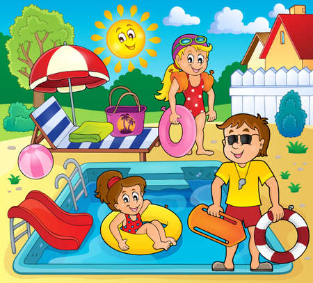 water chute: Children and life guard by pool - vector illustration.