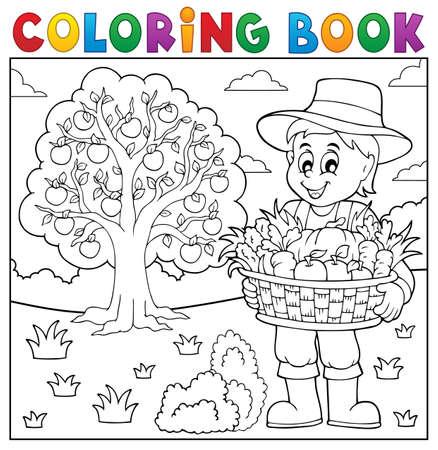 Colorear los agricultores libro con la cosecha 3 - ilustración vectorial.