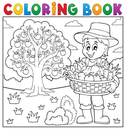 happy farmer: Coloring book farmer with harvest 3 - vector illustration.