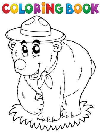 neckscarf: Coloring book happy scout bear - vector illustration.