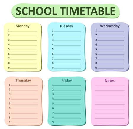 weekly: Weekly school timetable theme 1 - vector illustration. Illustration
