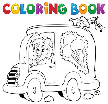 ice cream truck coloring book ice cream man in car vector illustration