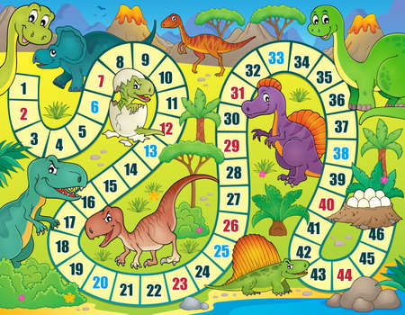 Board game with dinosaur theme 1 - vector illustration.