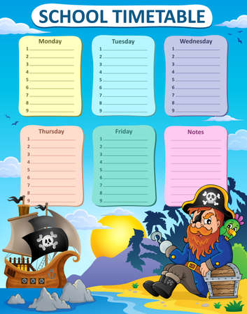 weekly: Weekly school timetable thematics 6 - vector illustration.