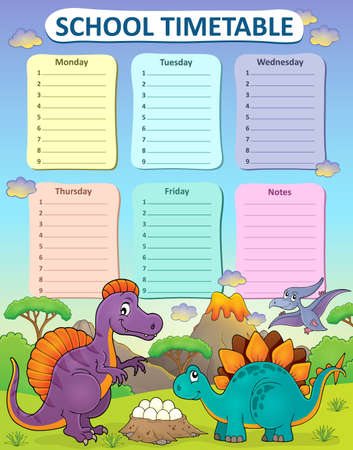 weekly: Weekly school timetable thematics 2 - vector illustration. Illustration