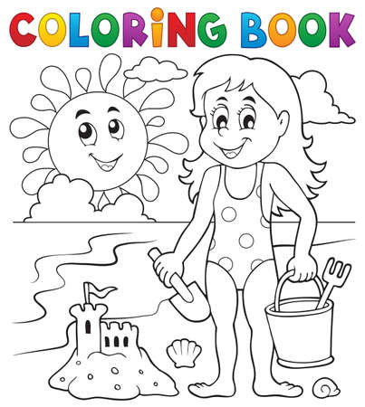 little girl beach: Coloring book girl playing on beach 1 - vector illustration. Illustration