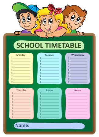 weekly: Weekly school timetable theme 5 - vector illustration. Illustration