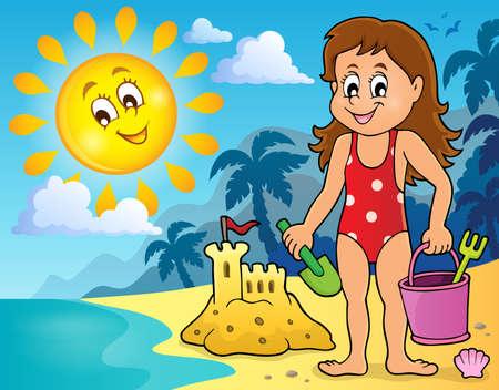 Ragazza che gioca spiaggia immagine 2 on - illustrazione vettoriale. Archivio Fotografico - 59804744