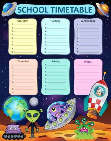 weekly: Weekly school timetable thematics 8 - vector illustration. Illustration