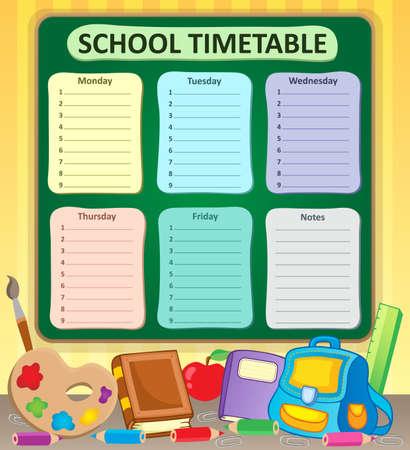 weekly: Weekly school timetable topic 6 - vector illustration.