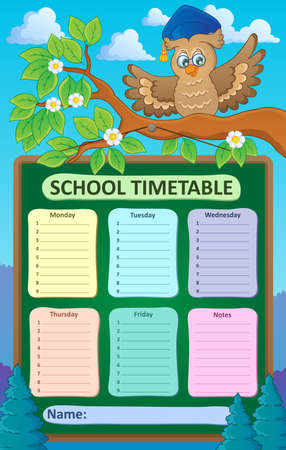 weekly: Weekly school timetable topic 1 - vector illustration. Illustration