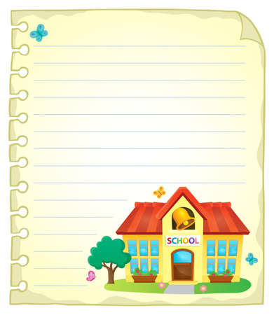 educative: Notepad page with school building 1 - vector illustration.
