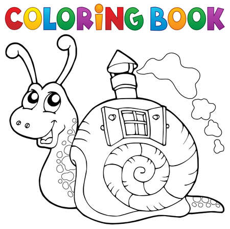 clipart chimney: Coloring book snail with shell house - vector illustration.