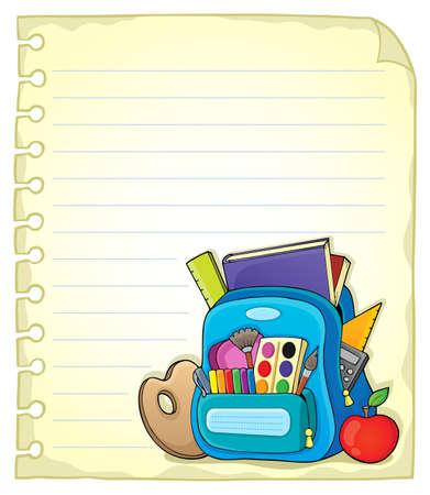 schoolbag: Notebook page with schoolbag 1 - vector illustration.