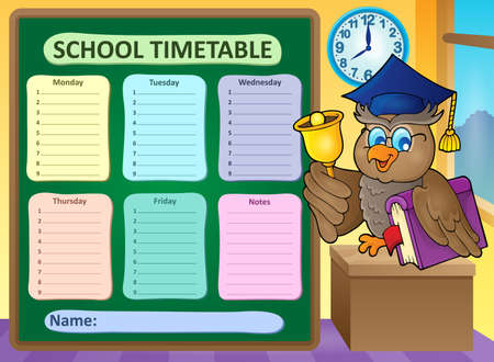 classes schedule: Weekly school timetable topic 9 - vector illustration.