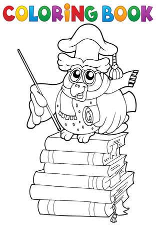 educative: Coloring book owl teacher theme 2 - vector illustration.