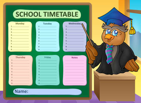 classes schedule: Weekly school timetable topic 8 - vector illustration.