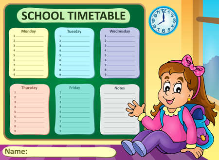 classes schedule: Weekly school timetable theme 7 - vector illustration.