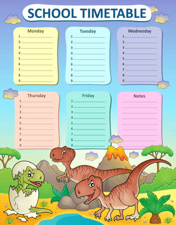 weekly: Weekly school timetable thematics 3 - vector illustration.