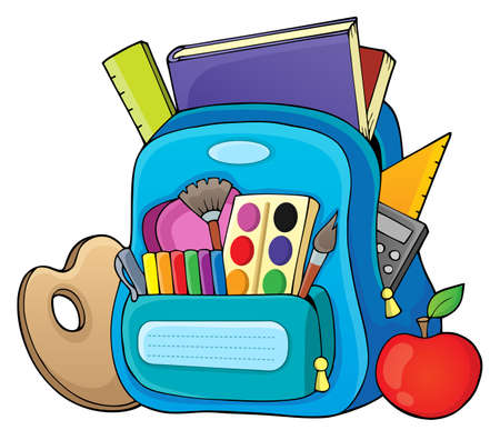 schoolbag: Schoolbag theme image 1 - vector illustration. Illustration