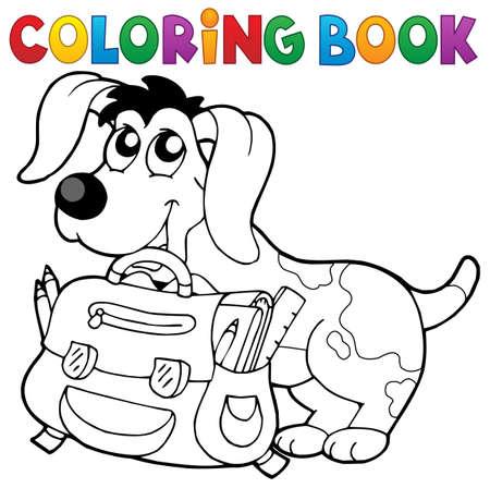 schoolbag: Coloring book dog with schoolbag theme 2 - vector illustration.