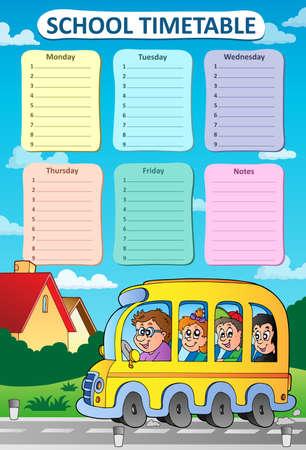 weekly: Weekly school timetable theme 8 - vector illustration.