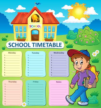 cronograma: semanal de la escuela cronograma tema 2 - ilustración vectorial.