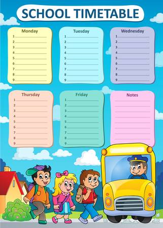 organize: Weekly school timetable theme 9 - vector illustration.