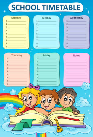 cronograma: calendario semanal de la escuela tema 5 - ilustraci�n vectorial.