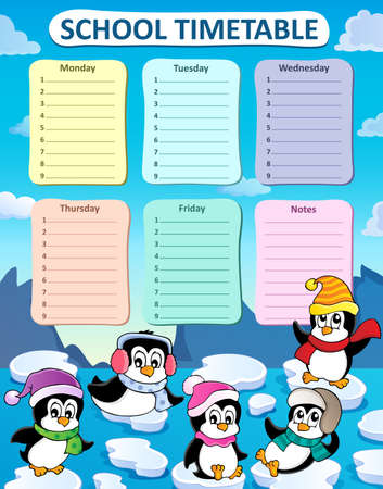 weekly: Weekly school timetable composition 2 - vector illustration.