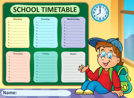 organize: Weekly school timetable theme 6 - vector illustration.