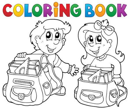 Kolorowanka dzieci w szkole Temat 3 - ilustracji wektorowych. Ilustracje wektorowe
