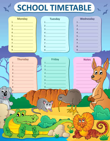 weekly: Weekly school timetable composition 3 - vector illustration. Illustration