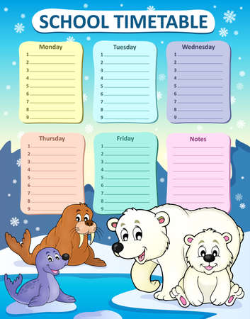 weekly: Weekly school timetable composition 1 - vector illustration.