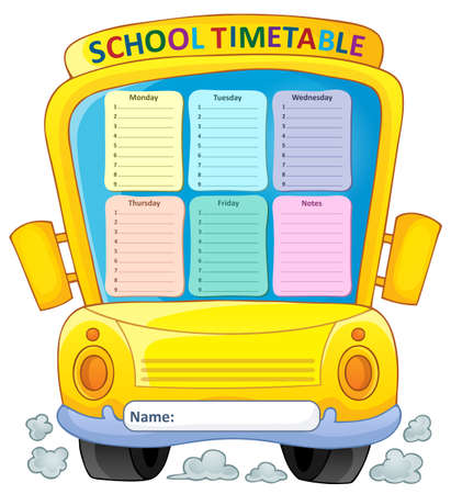 weekly: Weekly school timetable composition 4 - vector illustration.