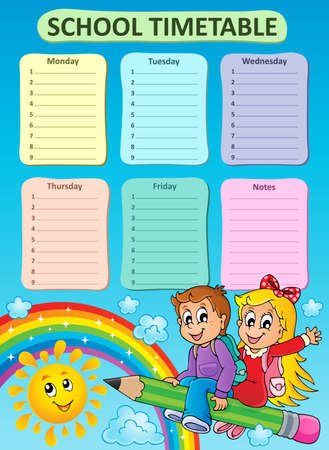 weekly: Weekly school timetable topic 7 - vector illustration.