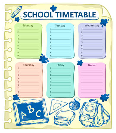 timetable: Weekly school timetable topic 4 - vector illustration.