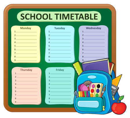 cronograma: Weekly school timetable composition 5 - vector illustration.