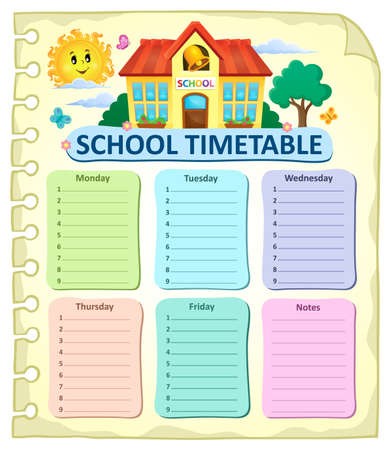 weekly: Weekly school timetable thematics 7 - vector illustration.